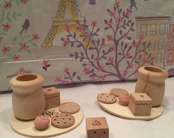 Build a little tea party wooden dice game waldorf montessori toy bakery