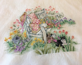 Leisure Arts Unframed Finished X-Stitch 3198 Spring in the Garden By Donna Vermillion Giampa Cat