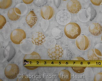 Winter's Graundeur Christmas Metallic Silver Gold Balls BY YARD RK Cotton Fabric