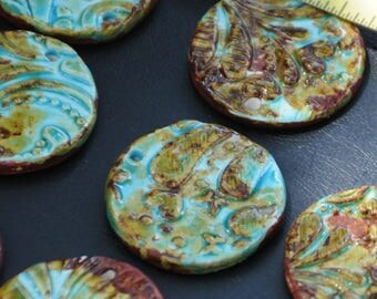 2 Pottery Bead in a Worldly Mix of browns, blues and greens
