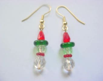 Christmas Snowman 5 Glass Bead Dangle Drop Earrings (Small)