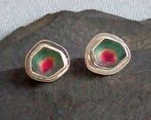 Watermelon tourmaline earrings / watermelon tourmaline jewelry / October birthstone / natural tourmaline / tourmaline crystal jewelry / gift