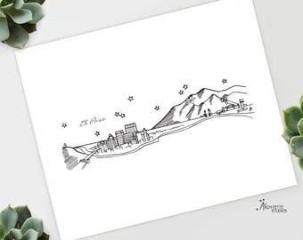 El Paso, Texas - United States - Instant Download Printable Art - City Skyline Series