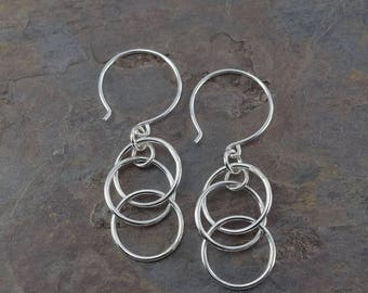 MYSTIC EARRINGS, sterling silver large and small circles earrings