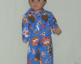 American Girl Boy Doll Logan Flannel Pajamas Critters
