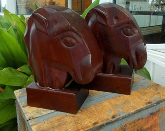 Pair Solid Mahogany Wood Horse Head Bookends  Equestrian Office Library Fritz Mevs