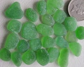 English sea glass  forest green no chips or cracks highly frosted med size JQ
