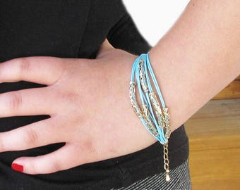 Multi Strand Blue Boho Bracelet, Hippy Chic,Aqua Blue Bracelet, Gold Tube Beads