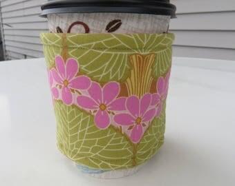 Handmade Coffee Cozy or Sleeve, Coffee Sleeve, Cup Sleeve, Flowers and Trees