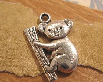 Pewter Antique Silver Koala Bear on a branch Charm - 1 Count
