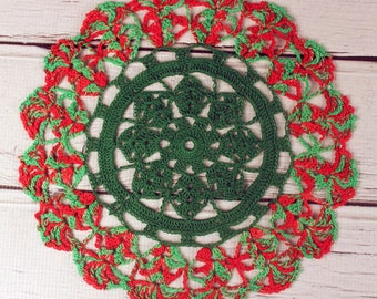 Crocheted Red Green Christmas Holiday Doily Table Topper - 10 1/2""