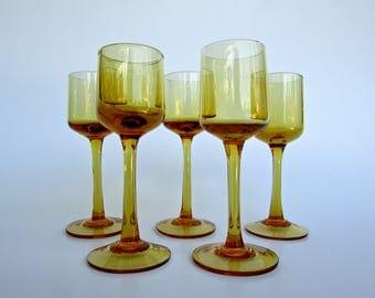 Modern Aperitif Crystal Stemware, Golden-Orange Cordial Glasses Set of 5, MCM Barware, Similar to Sven Palmqvist Designed Orrefors Rhapsody