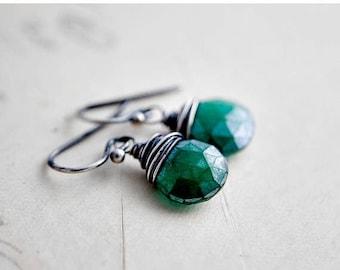 Summer Sale Kelly Green Earrings Emerald Chalcedony Dangle