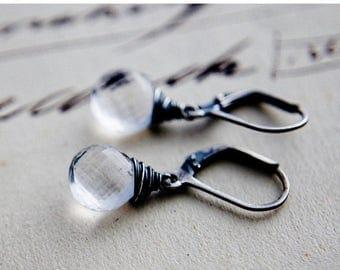 Crystal Earrings, Crystal Jewelry, Crystal Quartz, Quartz Earrings, Drop Earrings, Dangle Earrings, Sterling Silver