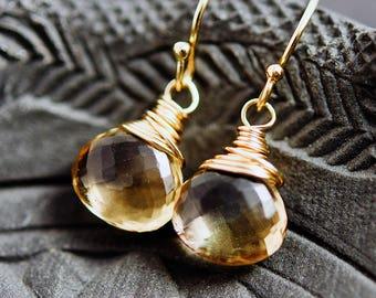 Crystal Earrings, Scapolite Gemstone Earrings, Vanilla Crystal Drop Earrings. Gold Dangle Earrings