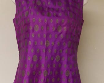 Very thin shiny dress, vintage dark lavender purple with dull gold print geometric, sleeveless no collar back zipper