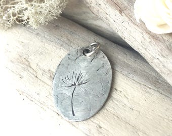 oval silver pendant, oval pendant, engraved silver pendant, dandelion engraved silver pendant