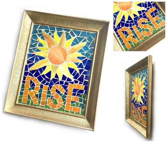 RISE Mosaic Art, Inspirational Mosaic Framed Art, RISE Mosaic Sun Framed Art, Rise Up Mosaic Art, Blue Yellow Mosaic Art,Resist Rise Persist