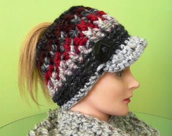 Red and Charcoal Messy Bun Ponytail Newsboy Hat Ready to Ship
