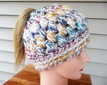 Messy Bun Ponytail Hat Multicolor Popcorn Stitch Ready to Ship