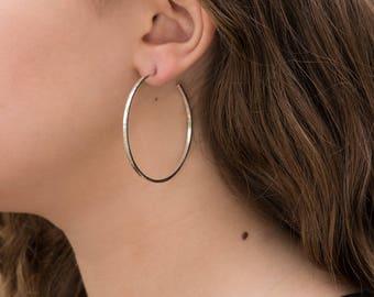 Large silver hoop earrings, narrow, 50mm.