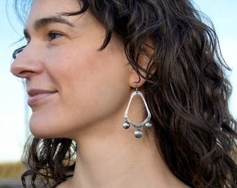 Sterling silver chandelier earrings, antiqued