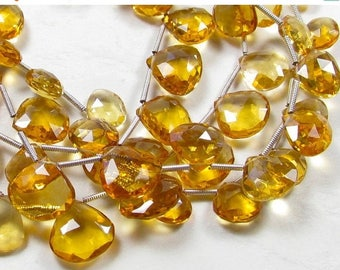 SALE 20% Off AAA Natural Citrine Briolette Beads, 10mm  Brazilian Gemstone Pairs