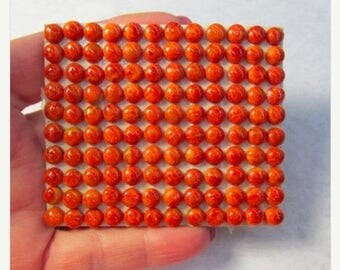 SALE Natural Red Coral Round Cabochon,  5mm Or 6mm, QTY4, Choice Of Size, Red Gemstone