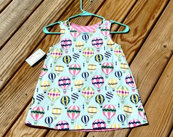 Shift Dress - Hot Air Balloons - Reversible Dress  - Girls Spring Dress- Birthday Dress - Groovy Gurlz