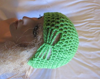 Spring Green Butterfly Stitch Accent Beanie/Turban
