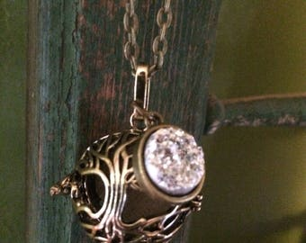 Tree sparkle Druzy Druzie Filigree Diffuser Boho Necklace use with Young Living Essential Oils