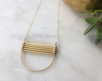 Gold Parallel Bars Necklace