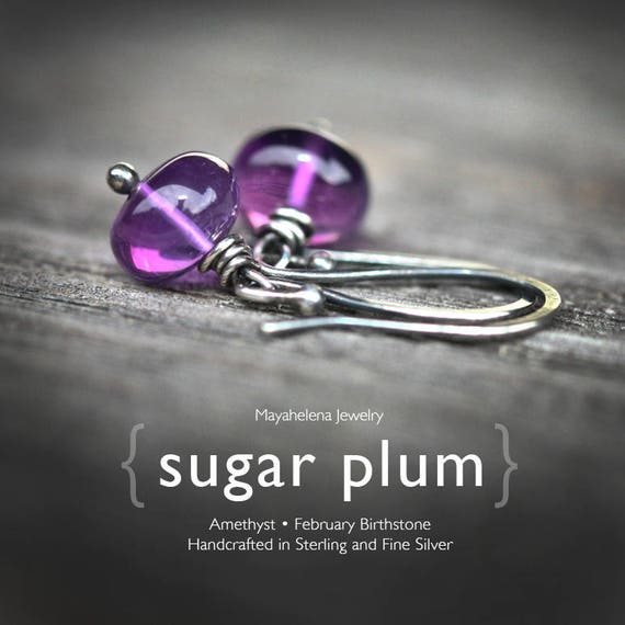 Sugar Plum - Wire Wrapped Blackened Sterling Silver Earrings