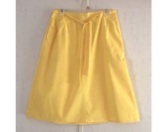 70's Sunshine Yellow Cotton Wrap Skirt