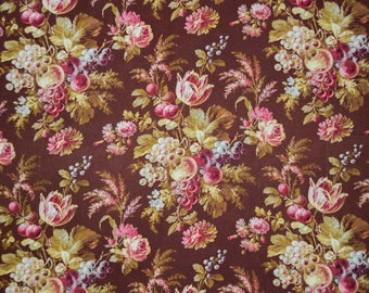 French antique textile with fruit