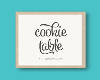 PRINTED Pittsburgh Cookie Table and a Cookie Wedding Reception Sign Foil or Matte 8x10