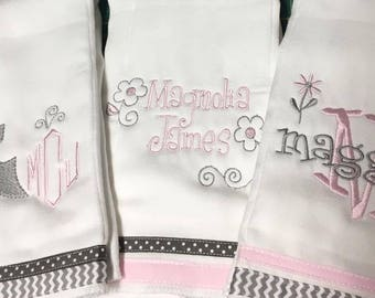 Personalized / Monogrammed Burp Cloths!  Ships within 5 days!!