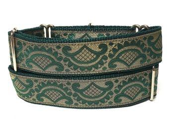 martingale dog collar, EMPEROR'S ROBE, metallic dog collar, Safety Collar, Greyhound Collar, Sighthound Collar, green, gold