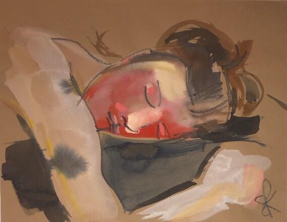 Vera Asleep Portrait- original watercolor portrait painting by Gretchen Kelly