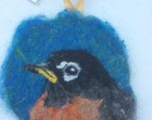 Needle Felted Wool Painting Ornament Medallion Robin Bird