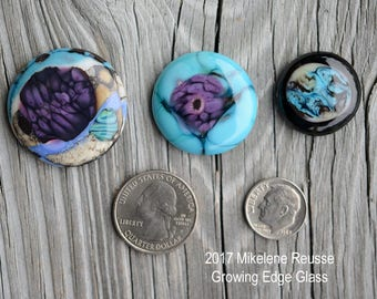 Purple Bloom ....  glass cabochons ... artsy, handmade glass designer cabochons by Mikelene Growing Edge Glass