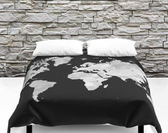 World map bedding etsy duvet cover bedding modern bedspread design 70 world map black gray grayscale art by lucie dumas gumiabroncs Gallery