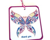 8 Fuchsia Blue White Butterfly Gift Tags, hang tags, Party Favor Tags,  Handmade, Takuniquedesigns