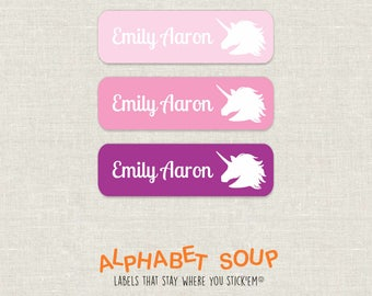 72 personalized dishwasher safe unicorn labels | choose colors and fonts | microwave safe and waterproof