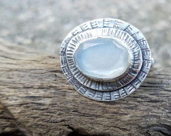 Faceted Moonstone Ring, Sterling Silver, Made to Order, Hand Stamped, Metalwork, Recycled Silver