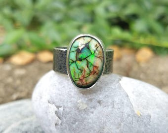 Monarch Opal Ring, Green Gemstone, Wide Band, Sterling Silver, Hammered, Size 10.25, Unisex
