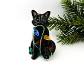 Figurine chat noir porcelaine Noël ornement lumières OOAK