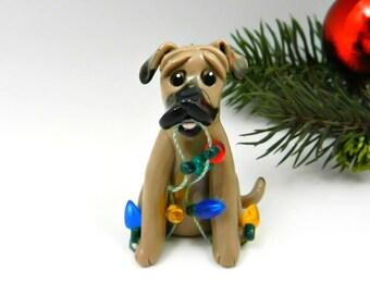 Black Mouth Cur Dog Christmas Ornament Figurine Handmade Porcelain Clay