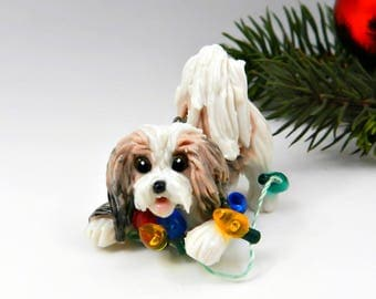 Havanese Sable White Christmas Ornament Porcelain Clay Figurine Lights