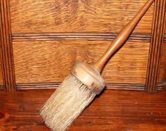 Antique Horse Hair Bristle Wood Handle Paint Brush